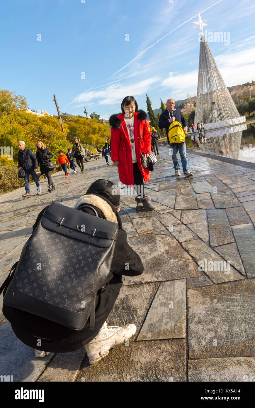 Nice, France, Chinese Tourists Taking Photos, Urban Park - Stock Image