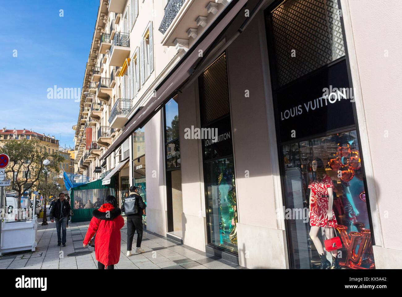 Nice, France, Louis Vuitton LVMH luxury CLothing Store, 2 Avenue de Suède, 06000 - Stock Image