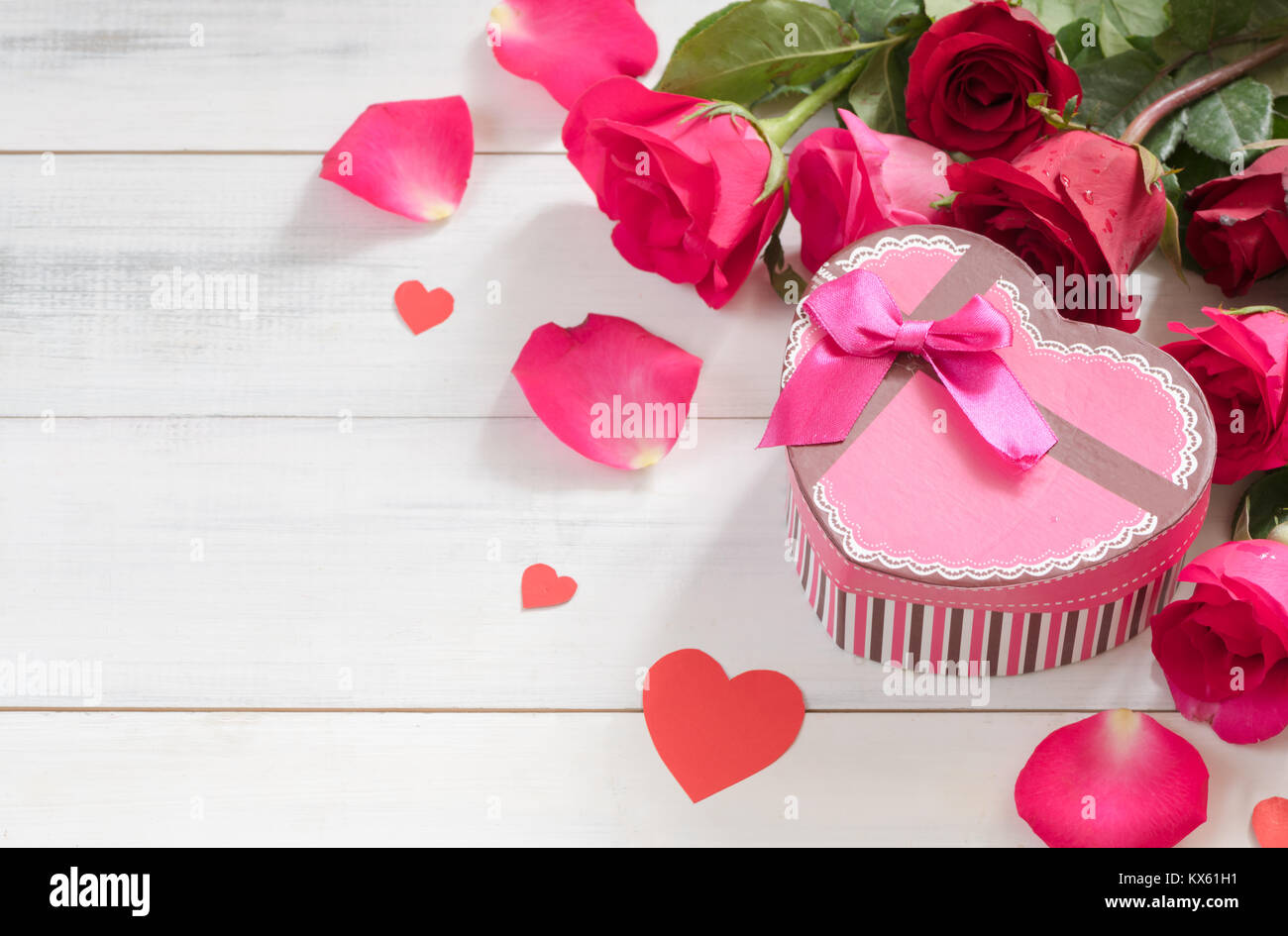 Pink Gift Box With Fresh Red Rose On White Wood Background Love And