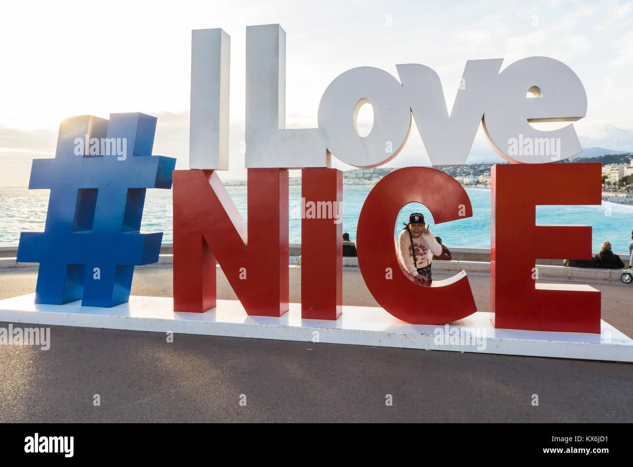 Nice, France, Tourists visiting Promenade des Anglais, Near Mediterranean Sea Beach - Stock Image