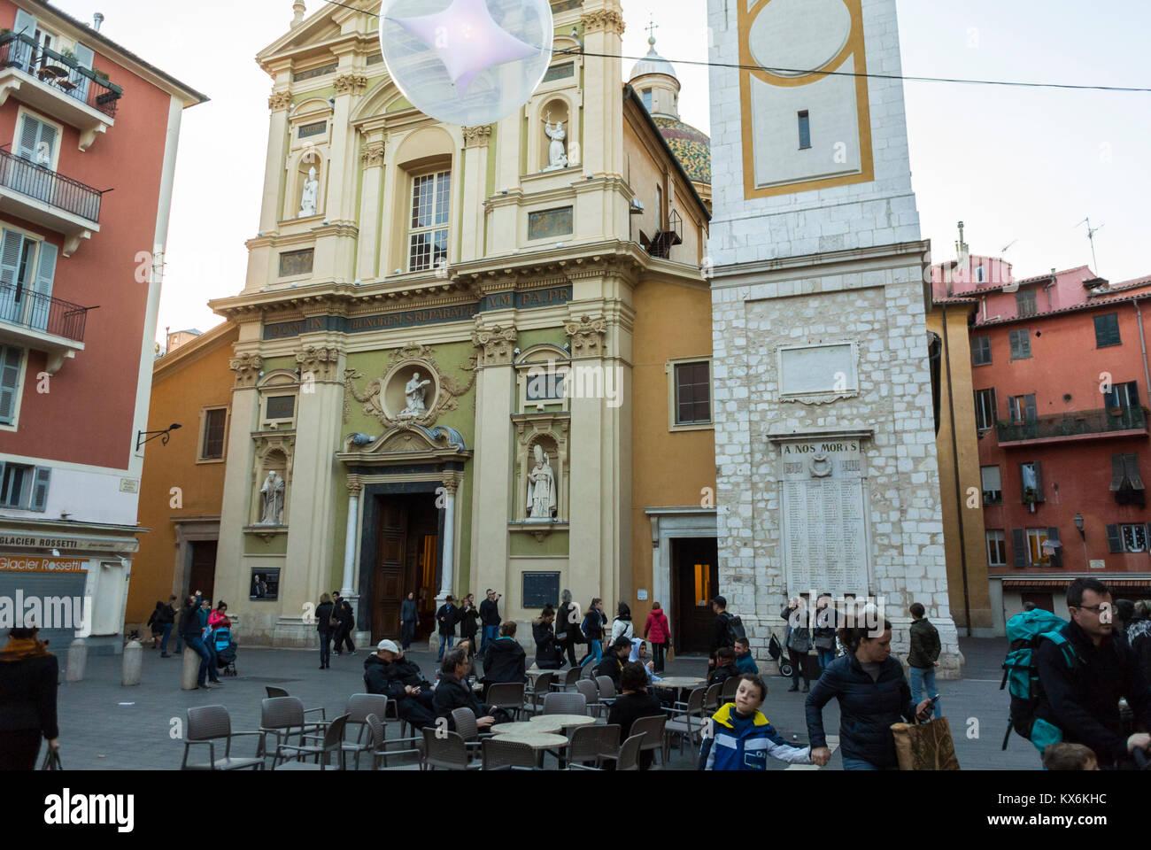 Nice, France, Catholic CHurch, Eglise Saint Jacques le Majeur, dite le Gesu, - Stock Image