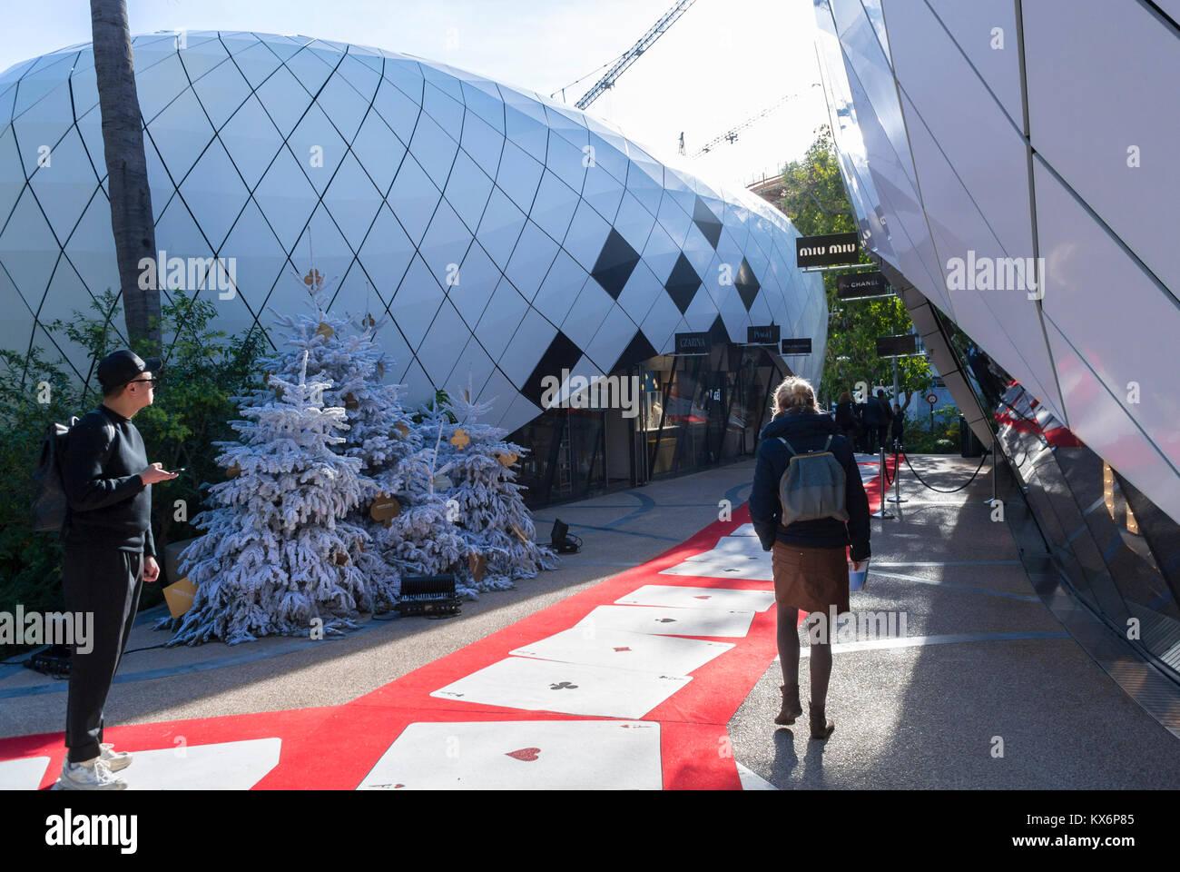Monaco, Monte Carlo, Les Pavillions, Luxury Shops, Shopping Center, Chinese Tourists Visiting Balenciaga Store, - Stock Image