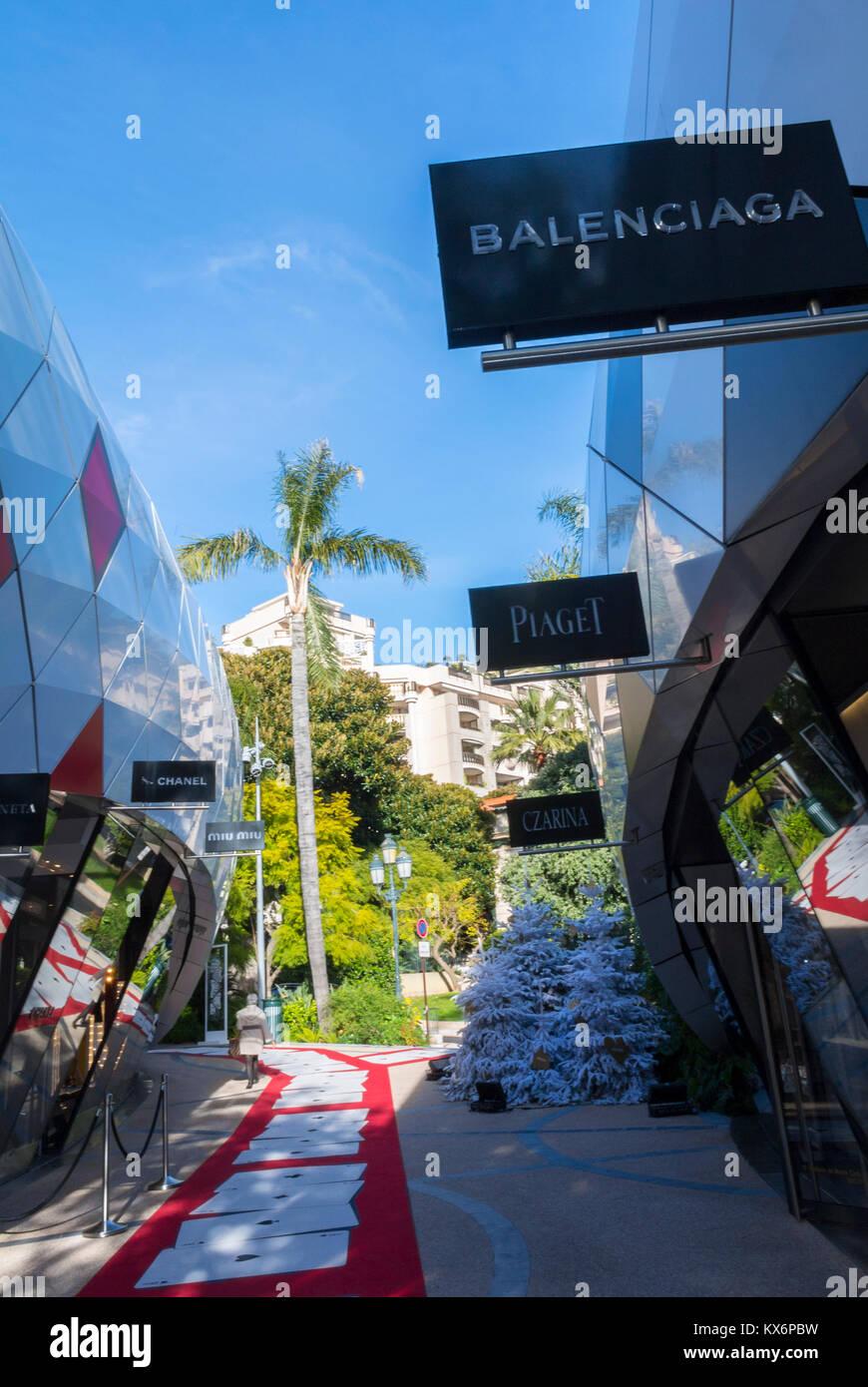 Monaco, Monte Carlo, Les Pavillions, Luxury Shops, Balenciaga Store, Shopping Center - Stock Image