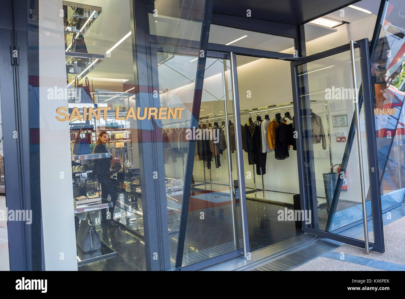 Monaco, Monte Carlo, Les Pavillions, Luxury Shops, Yves Saint Laurent Shop Window, Shopping Center - Stock Image