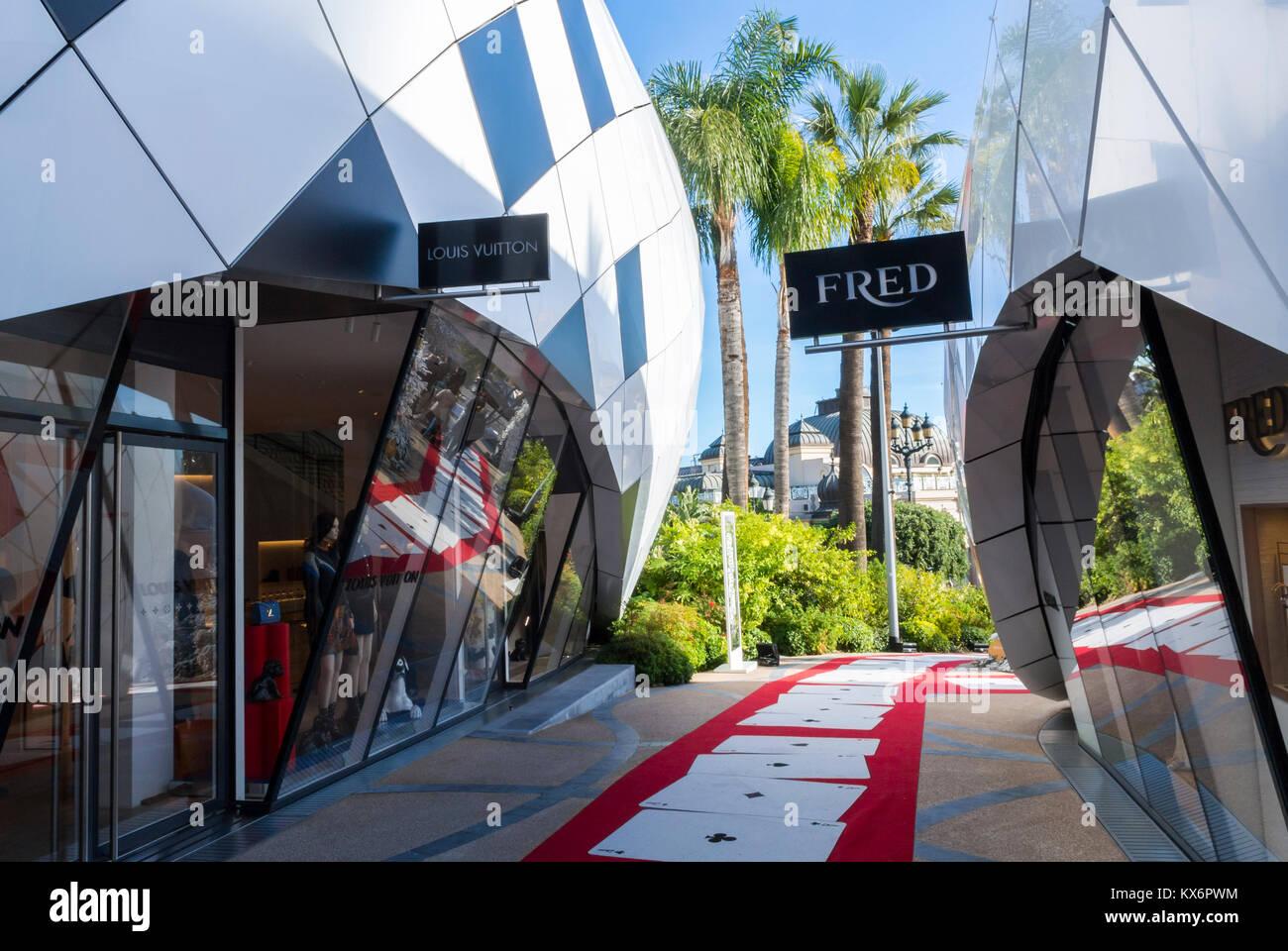 Monaco, Monte Carlo, Les Pavillions, Luxury Shops, Shopping Center, Fred Luxury CLothing Store Sign - Stock Image