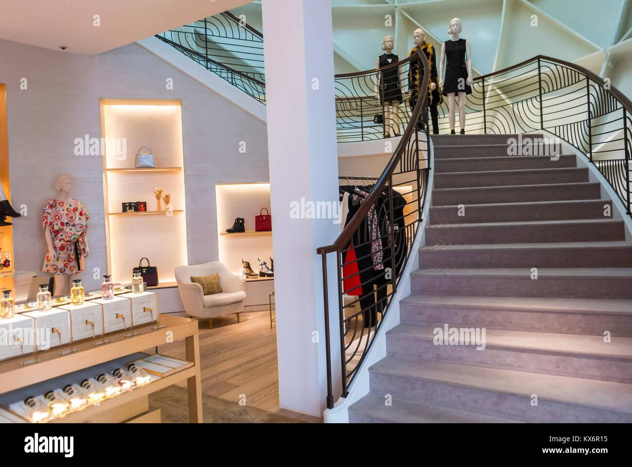 Monaco, Monte Carlo, Les Pavillions, Luxury Shops, Shopping Center, LVMH, Louis Vuitton Store - Stock Image