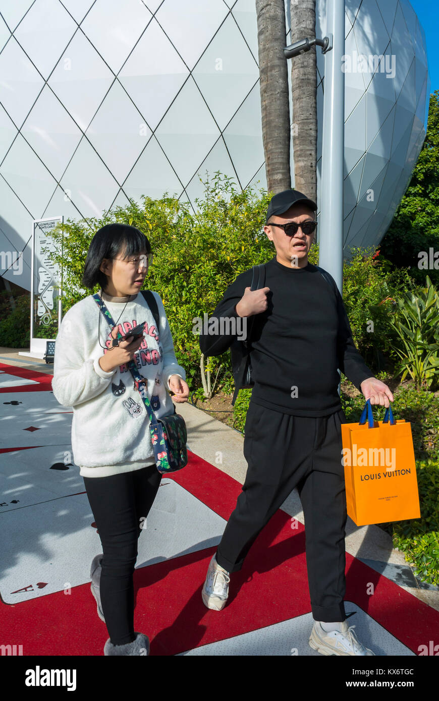 Chinese Tourists Shopping in Monaco, Monte Carlo, Les Pavillions, Luxury Shops, Shopping Center - Stock Image