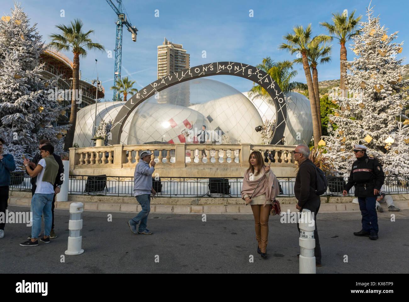 Monaco, Monte Carlo, Les Pavillions, Luxury Shops, Shopping Center, Chinese Tourists on Street - Stock Image