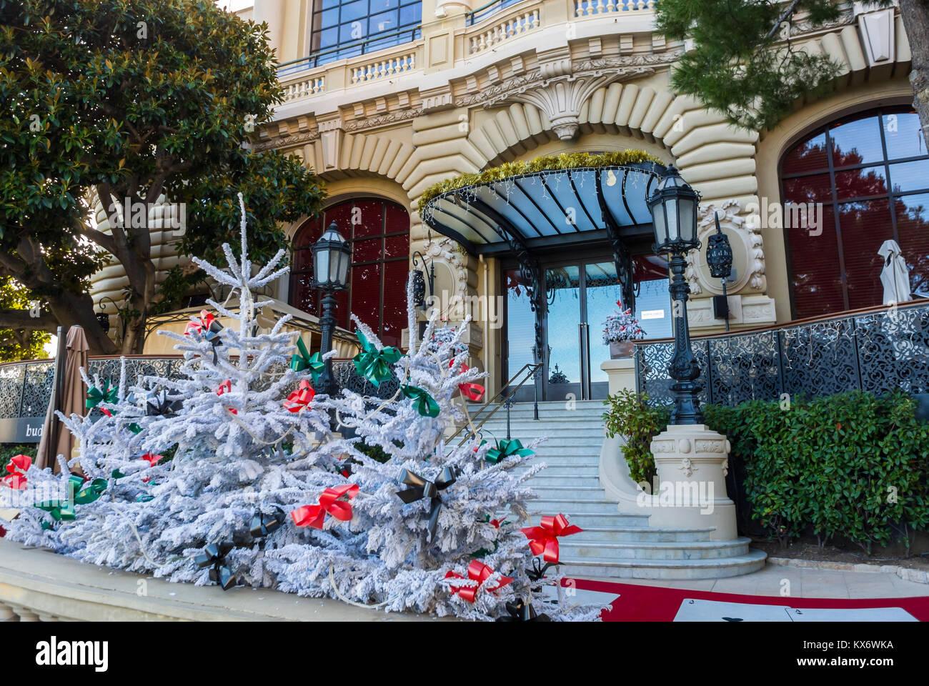 Monaco, Monte Carlo, Le Casino , Christmas Decorations - Stock Image