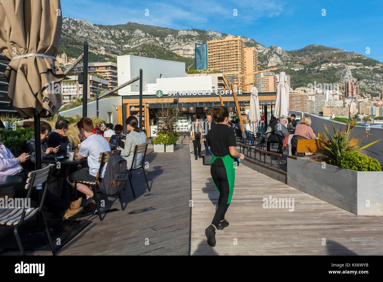 Monaco, Monte Carlo, Starbuck's Cafe Restaurant - Stock Image