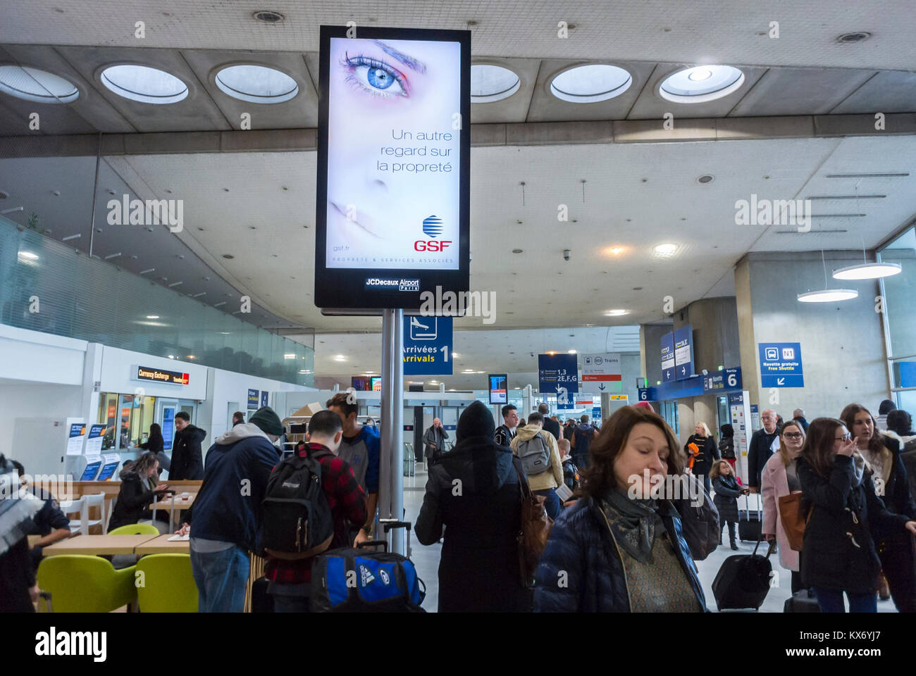 Nice, France, French Advertising on Electronic Board in Lounge inside Airport Terminal (JC Decaux) - Stock Image