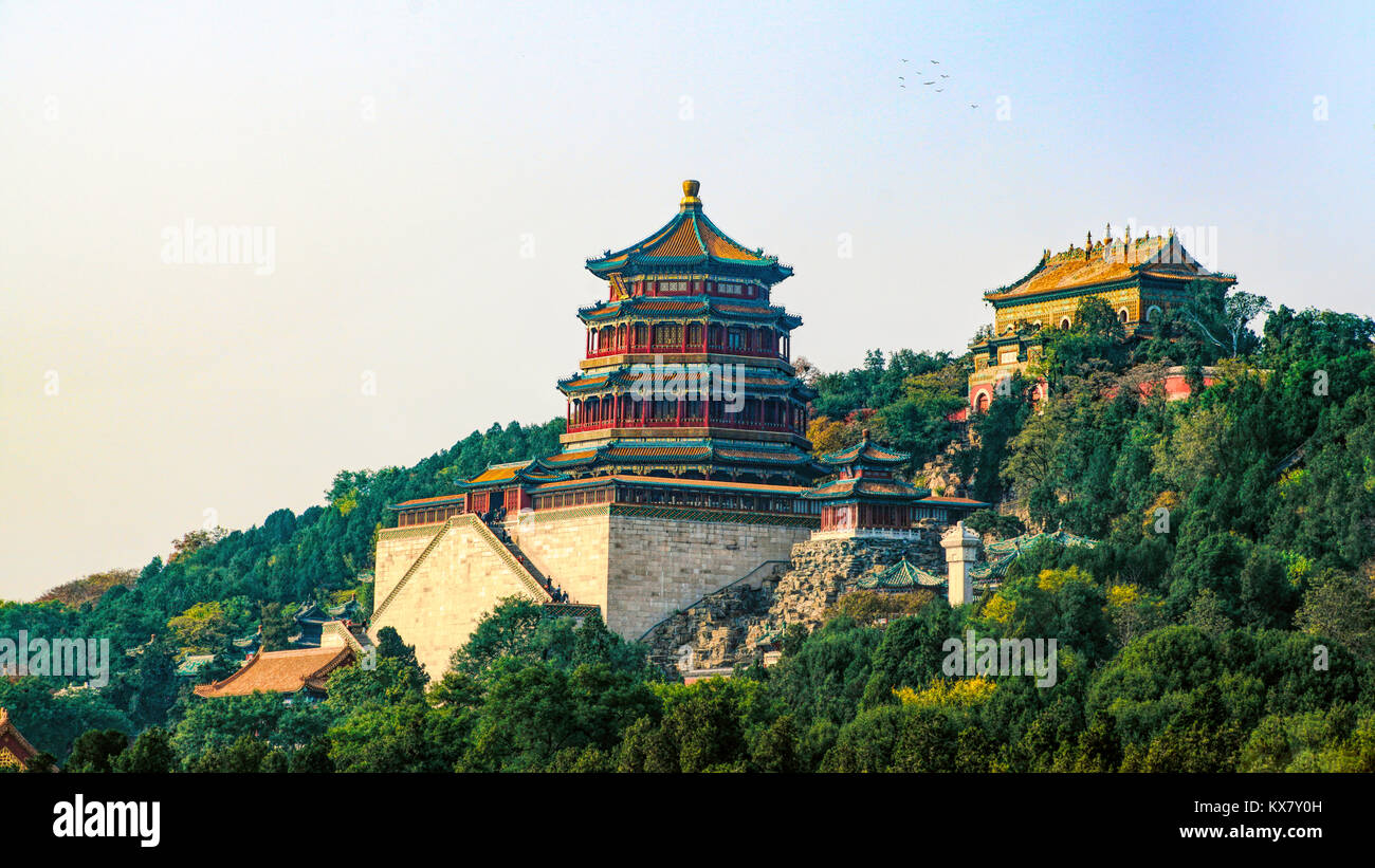 Buddhist Fragrance (Incense) and Sea of Wisdom temples on Longevity Mountain (Hill). Summer Palace, Beijing, China - Stock Image