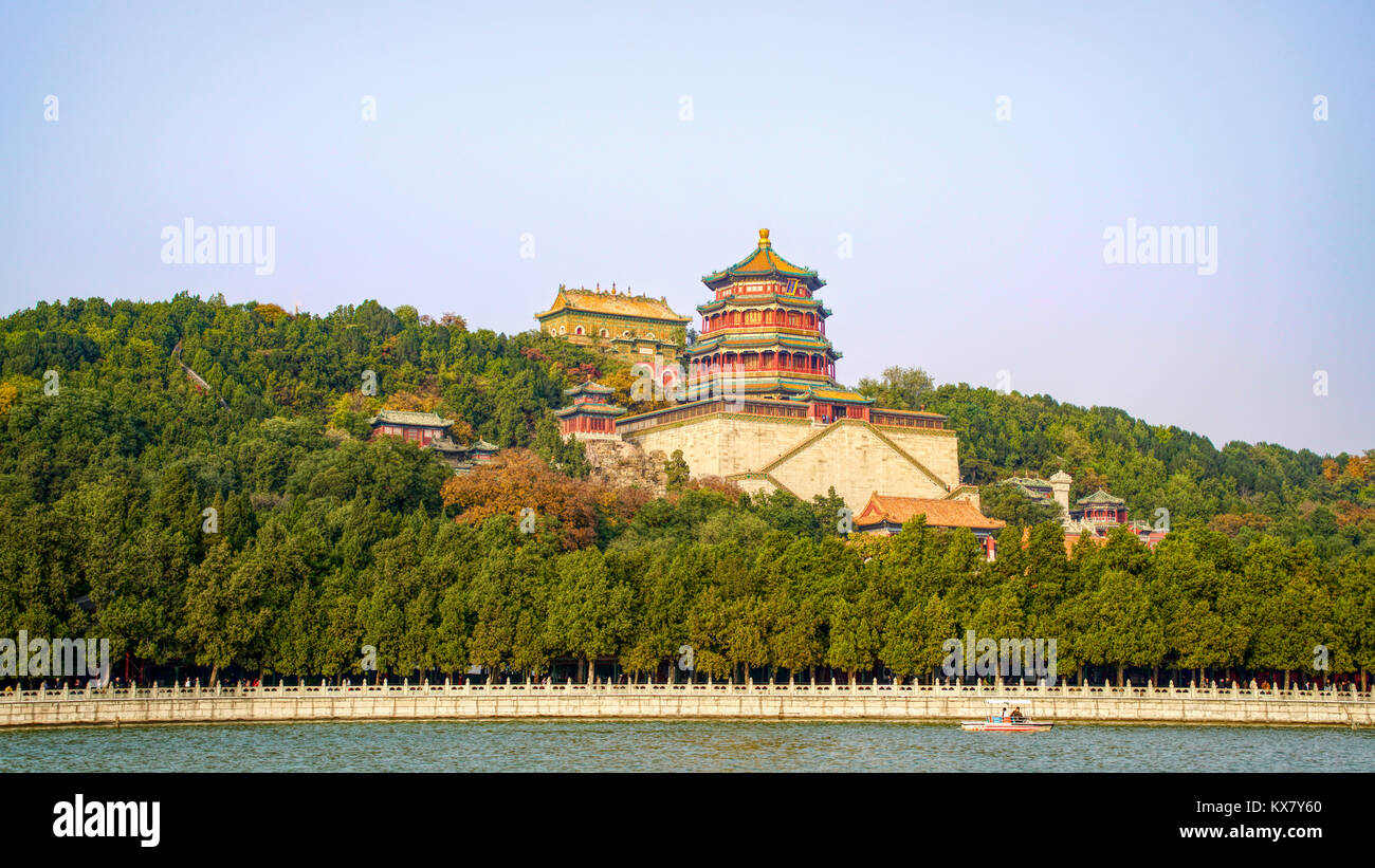 Buddhist Fragrance (Incense) and Sea of Wisdom temples as seen from Kunming Lake. Summer Palace, Beijing, China - Stock Image