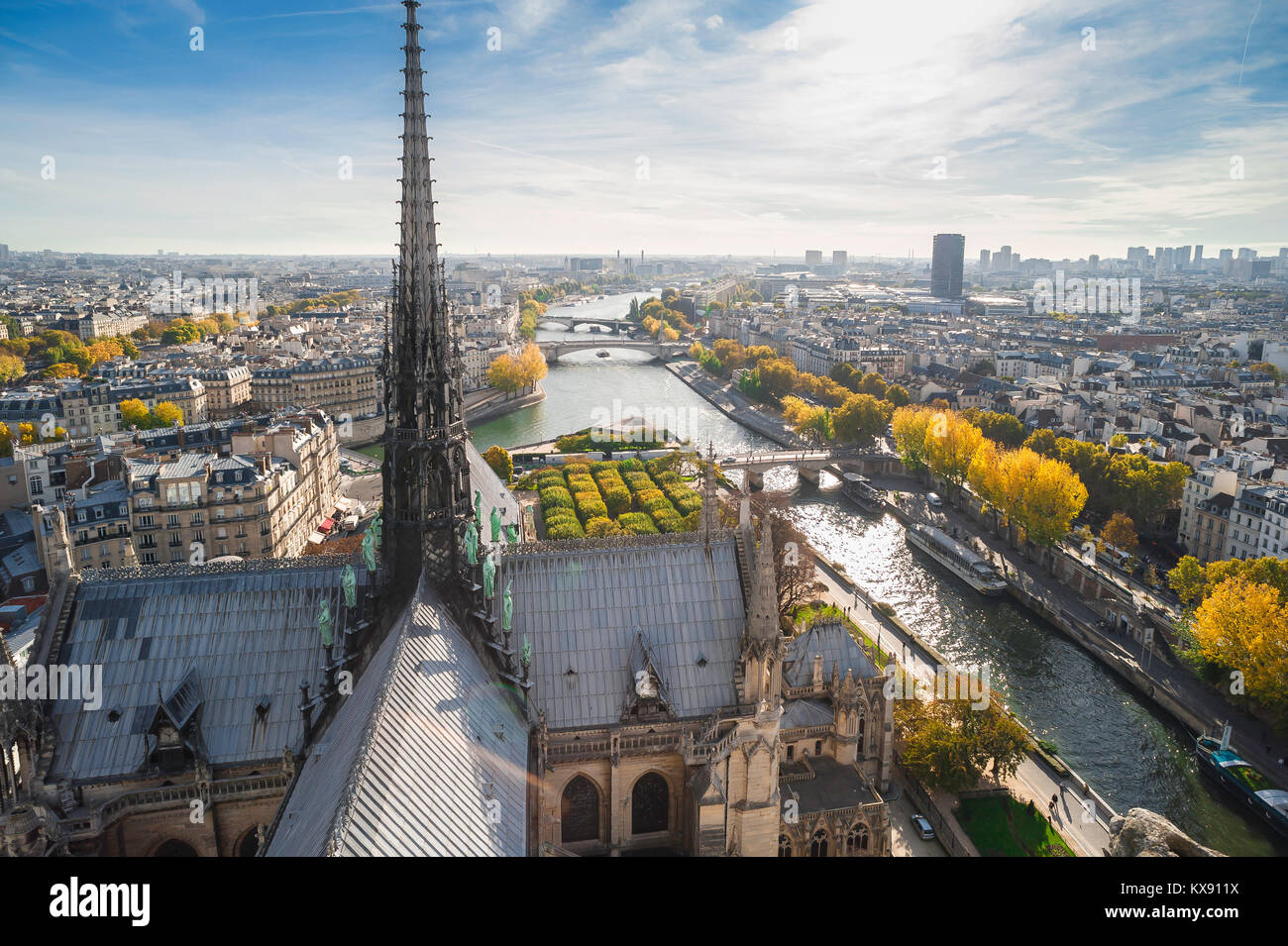 Paris cityscape aerial, view high over the roof of Notre Dame Cathedral looking towards the east of Paris on an - Stock Image