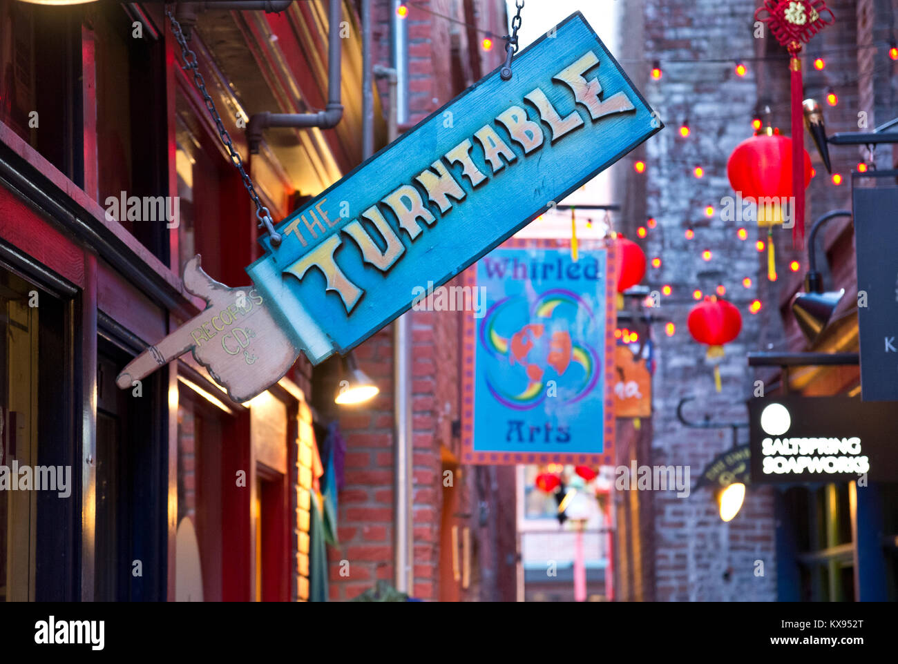 Hanging sign for Turtable Records store in Victoria, BC, Canada.  In Fan Tan Alley in Chinatown. Vinyl records shop Stock Photo