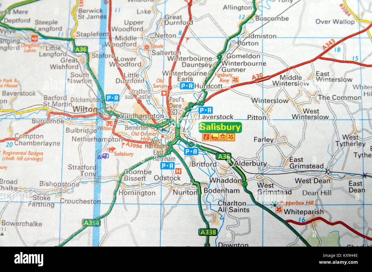 Road Map Of Salisbury England Stock Photo 171085390 Alamy