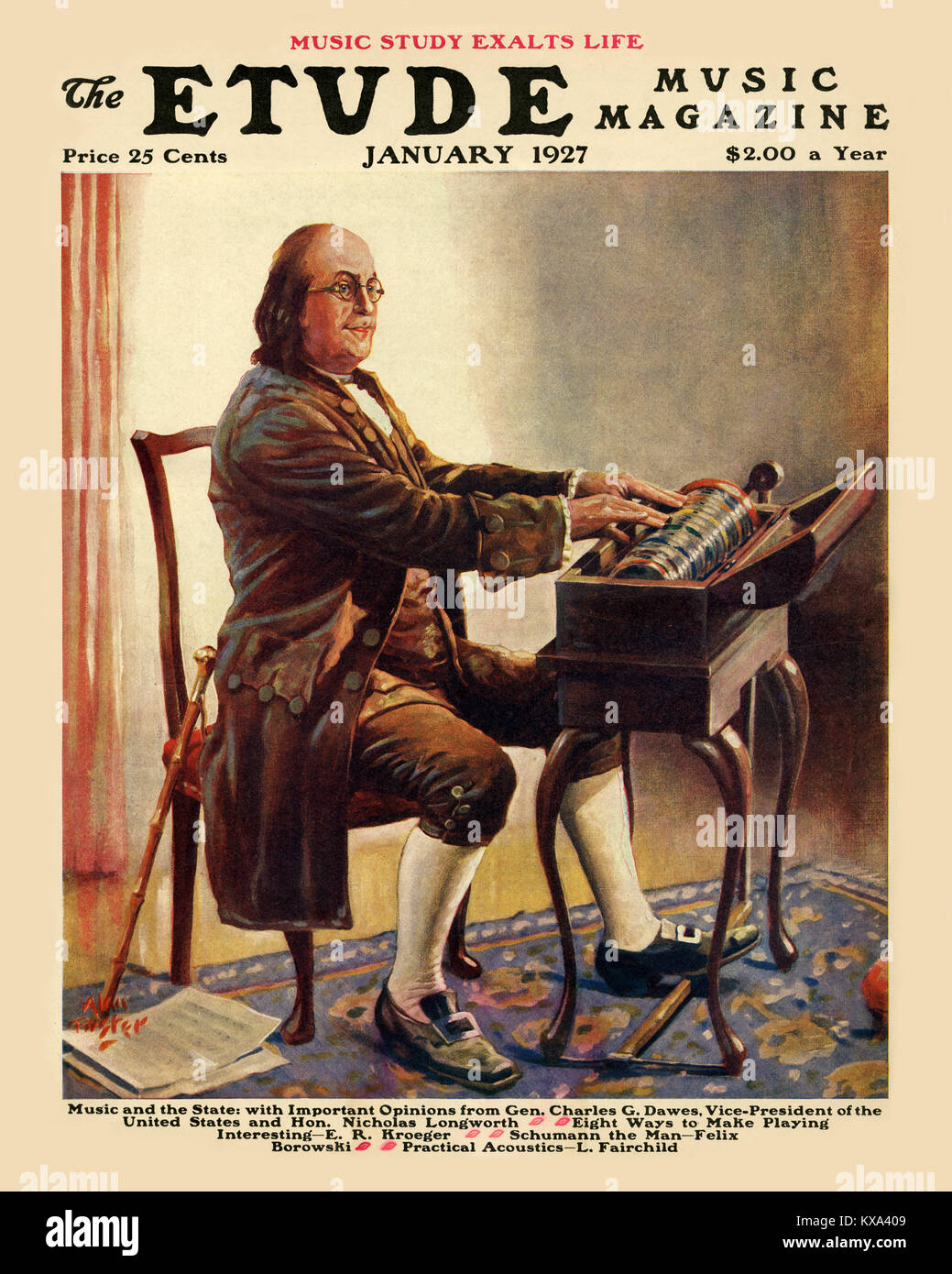 Benjamin Franklin in the Armonica - Stock Image