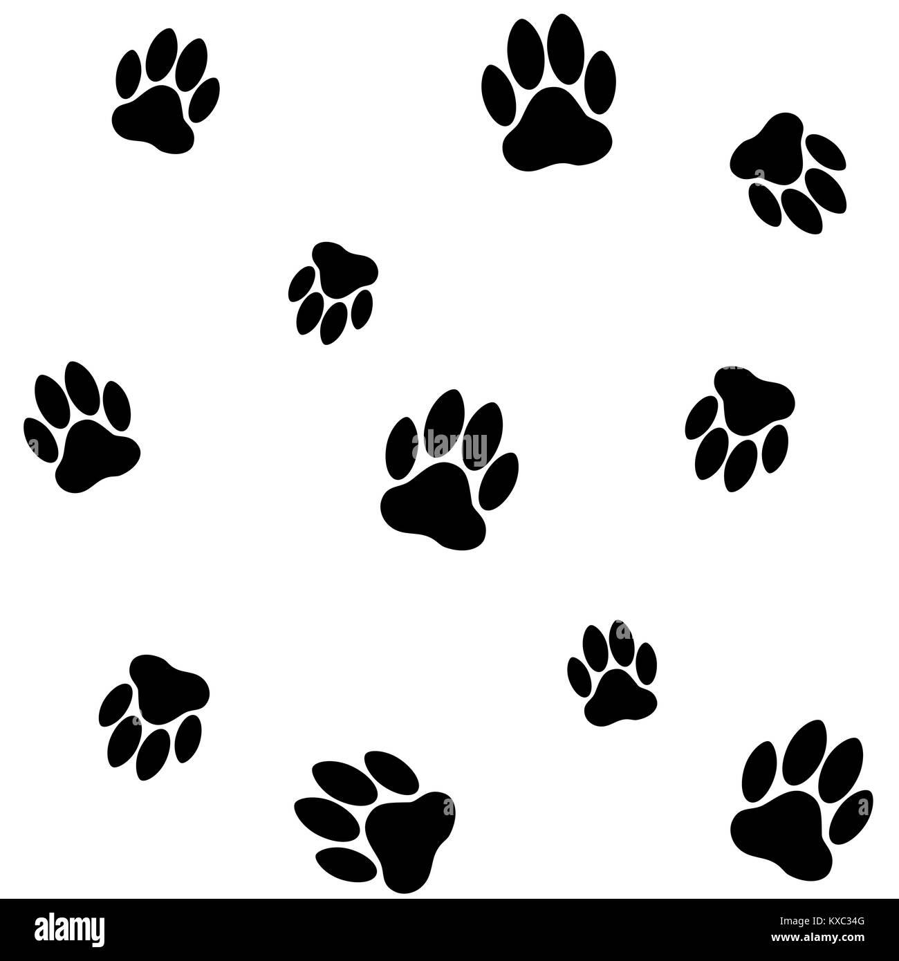 dog footprints pattern - Stock Image
