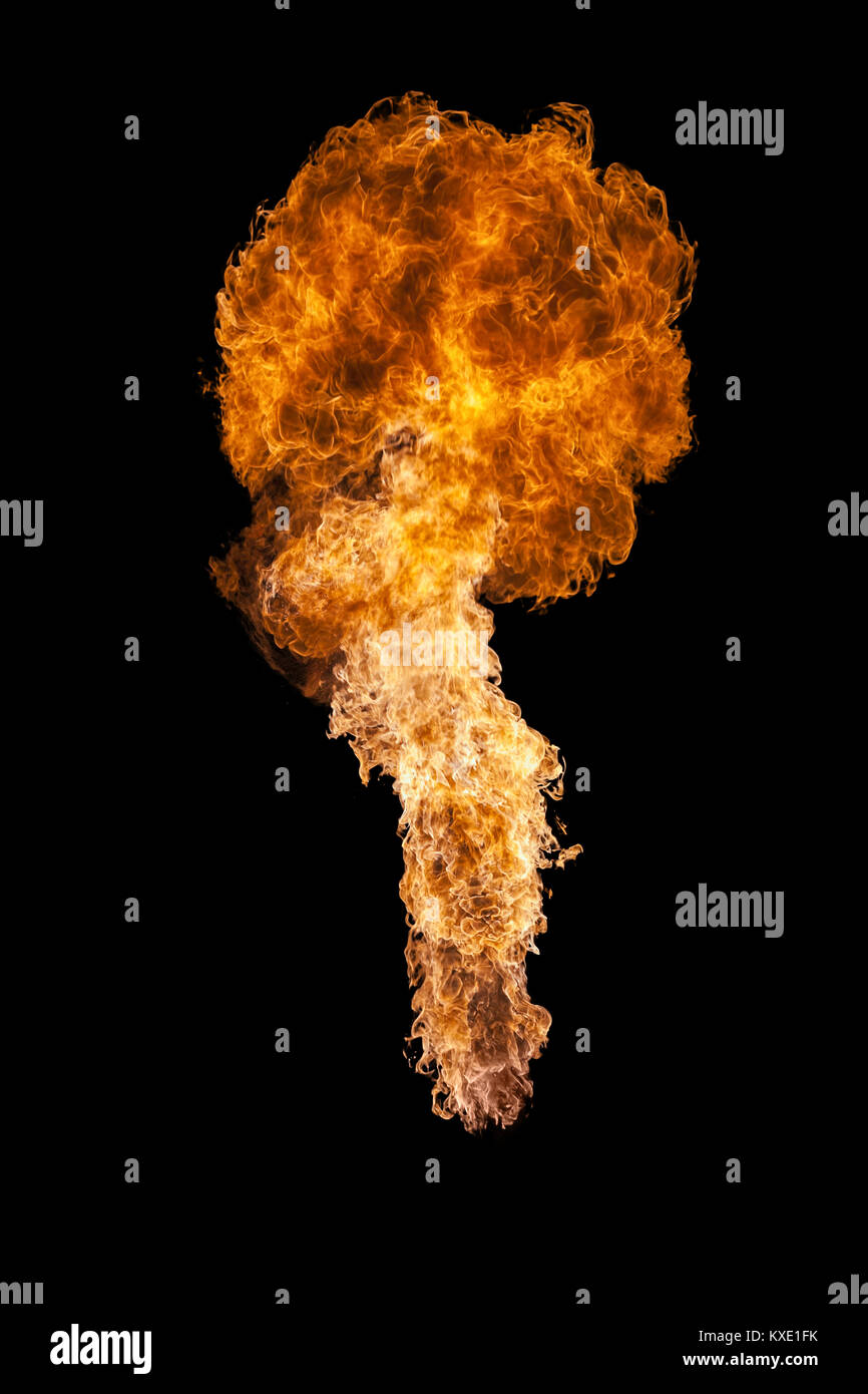 Fire explosion, isolated on black background - Stock Image