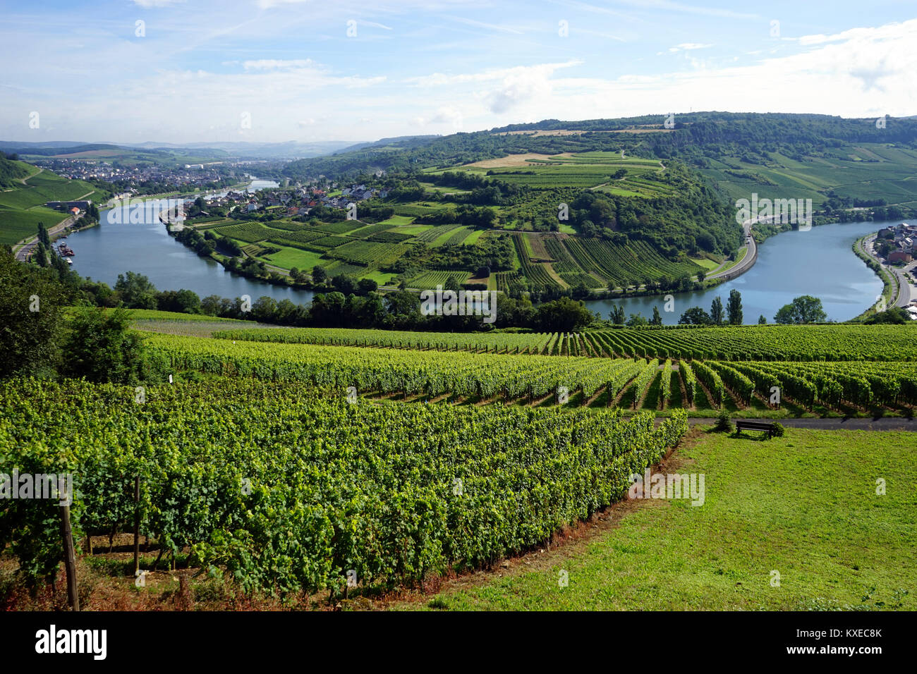 View of Mosell valley on the border Luxembourg and GermanyStock Photo