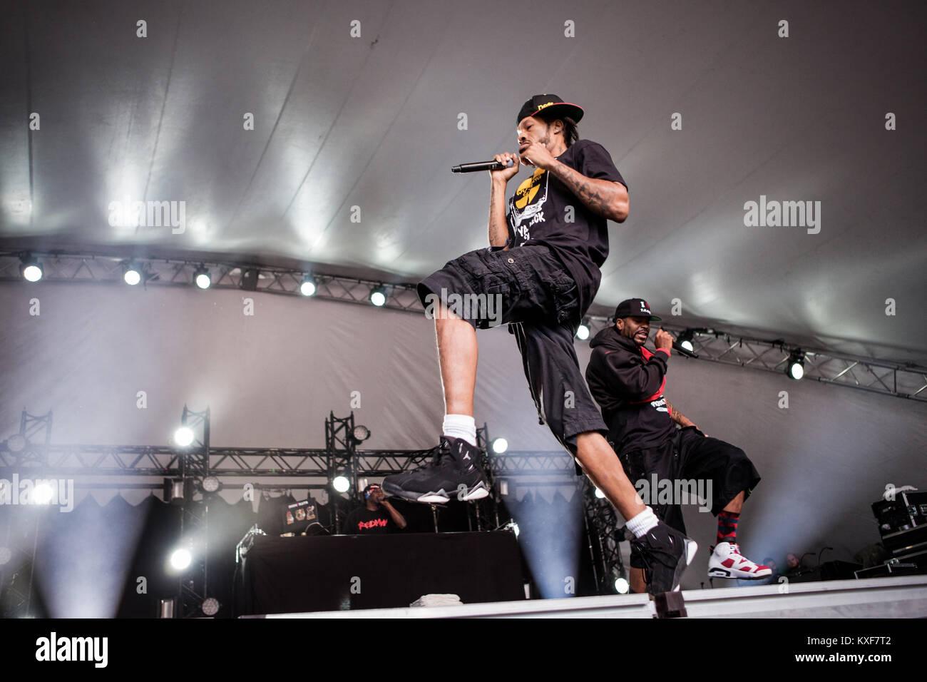 The American rap and hip hop duo Method Man & Redman performs a live concert at Vanguard Festival 2014 in Copenhagen. Stock Photo