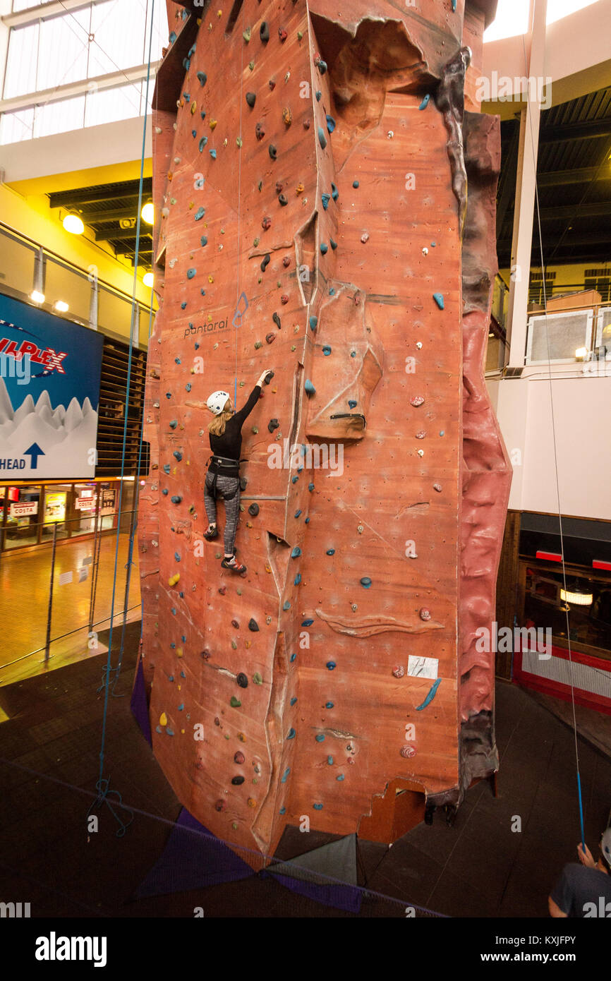 Indoor climbing wall, UK - Stock Image