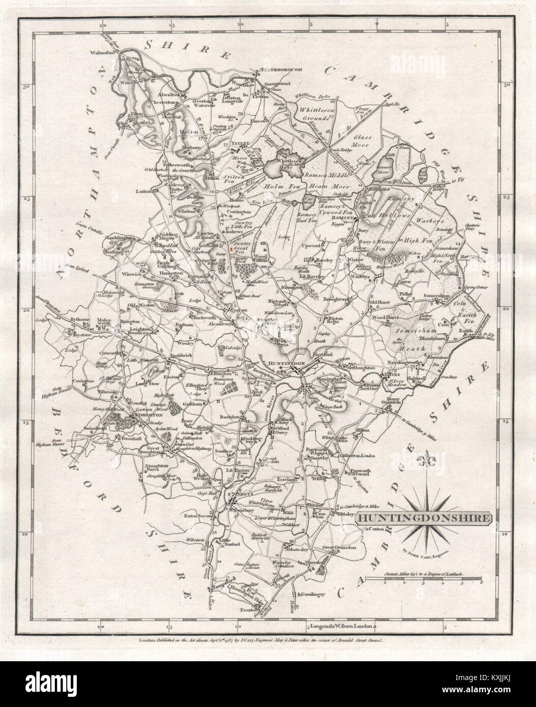 Helpful Antique County Map Of Huntingdonshire By John Cary Kimbolton St Neots 1793 Art