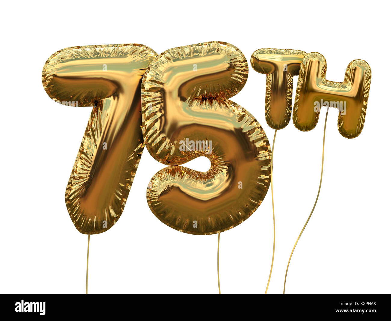 Gold Number 75 Foil Birthday Balloon Isolated On White Golden Party Celebration 3D Rendering