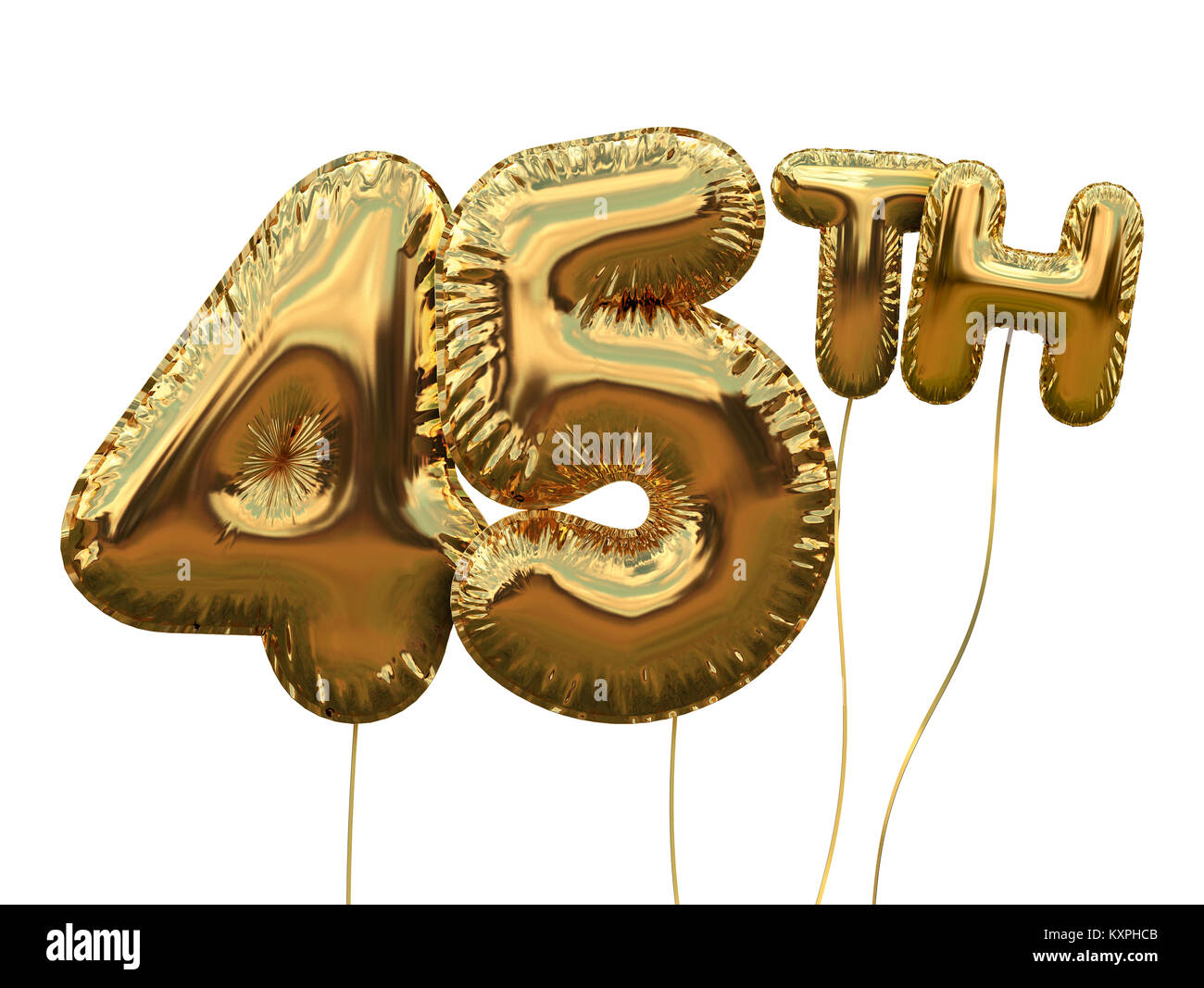 Gold Number 45 Foil Birthday Balloon Isolated On White Golden Party Celebration 3D Rendering