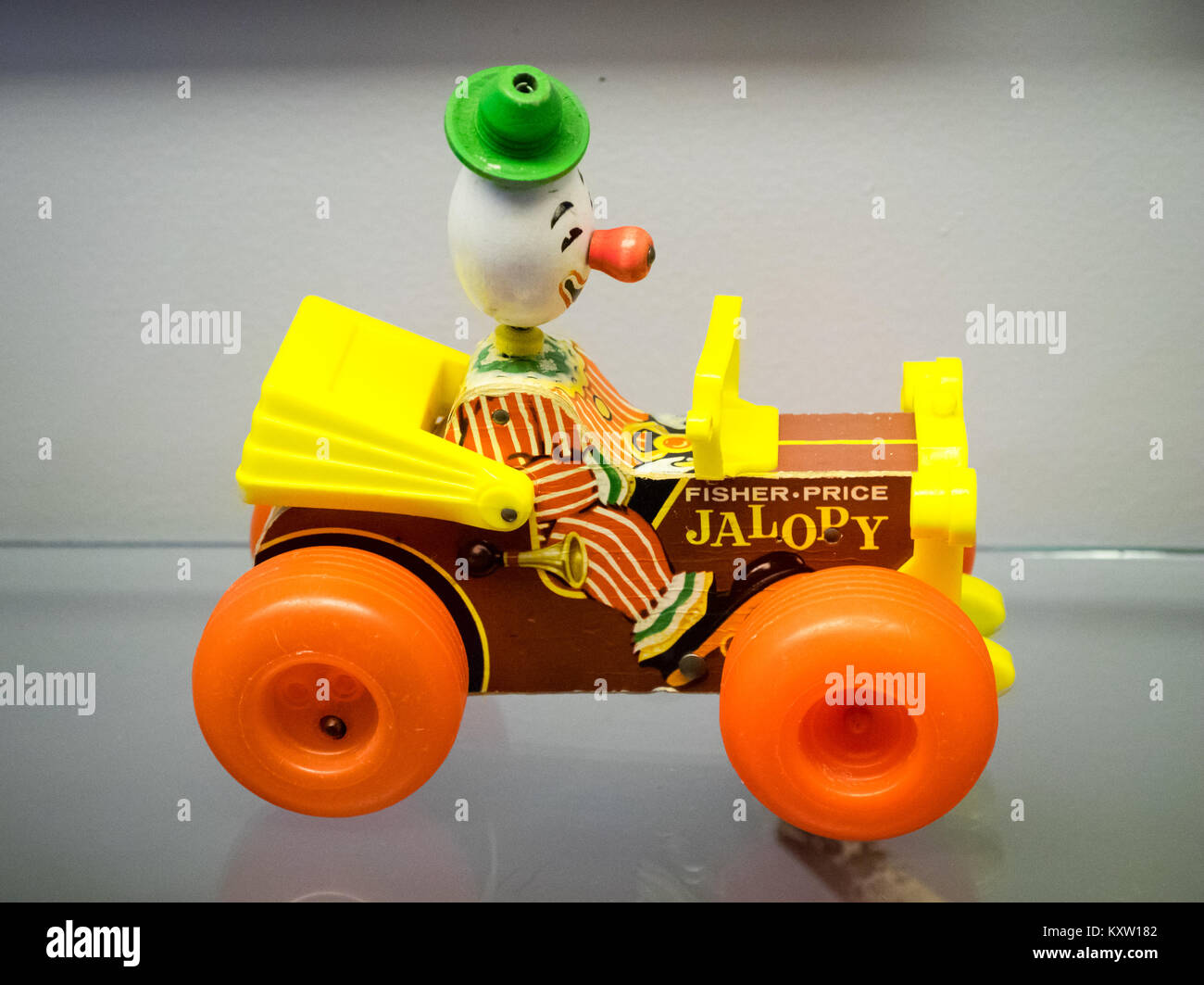 A Fisher-Price Jolly Jalopy #724, a classic toy manufactured by Fisher-Price from 1965-1978. - Stock Image