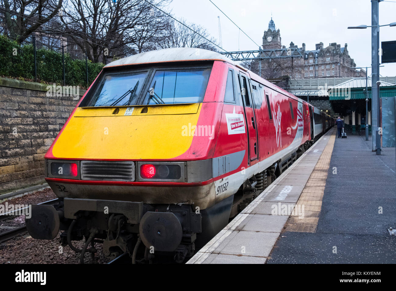 Virgin Trains locomotive from London King's Cross on East Coast Main line  at platform at Waverley Station in - Stock Image