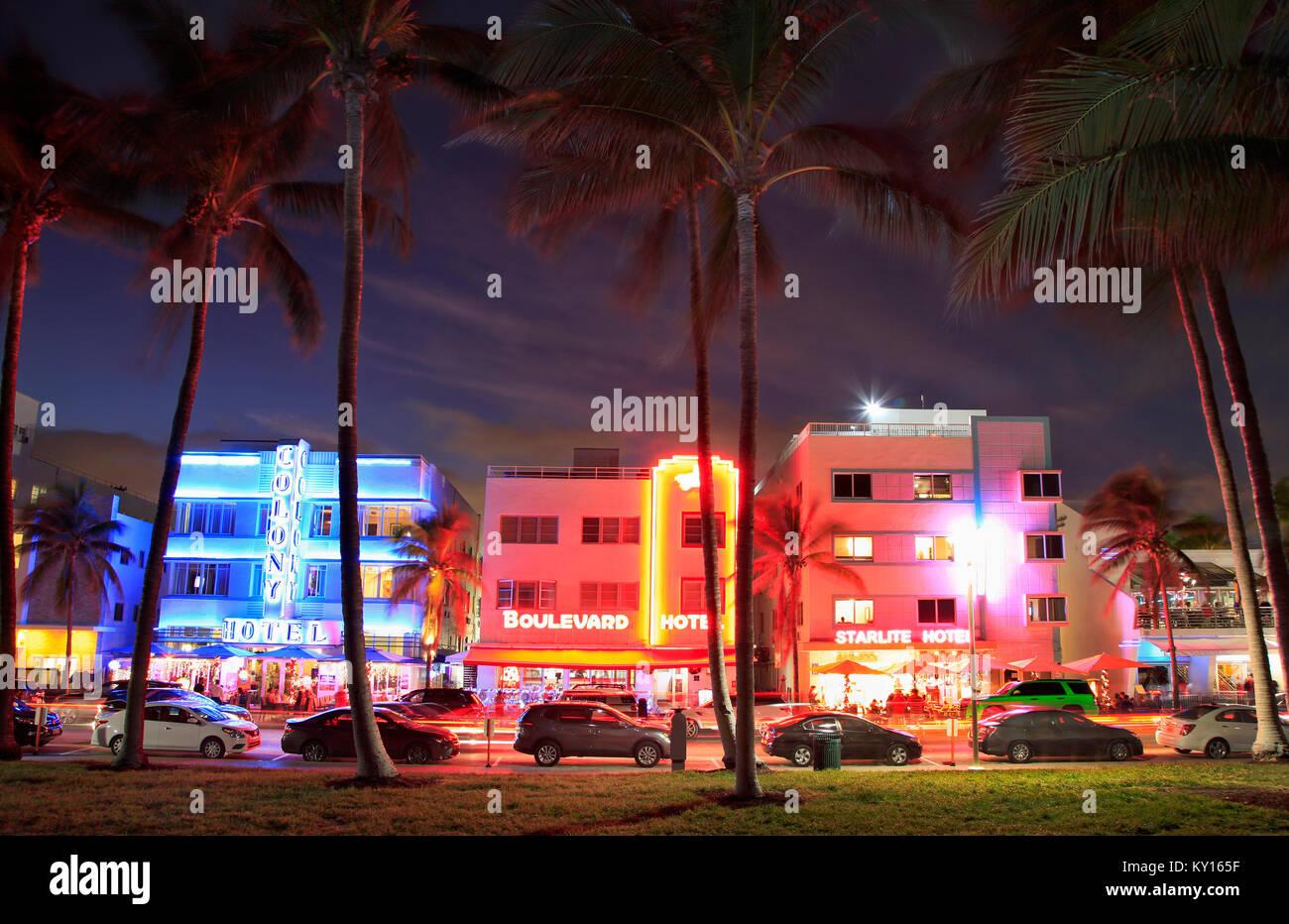 Ocean Drive Art Deco buildings illuminated at dusk in Miami Beach Stock Photo
