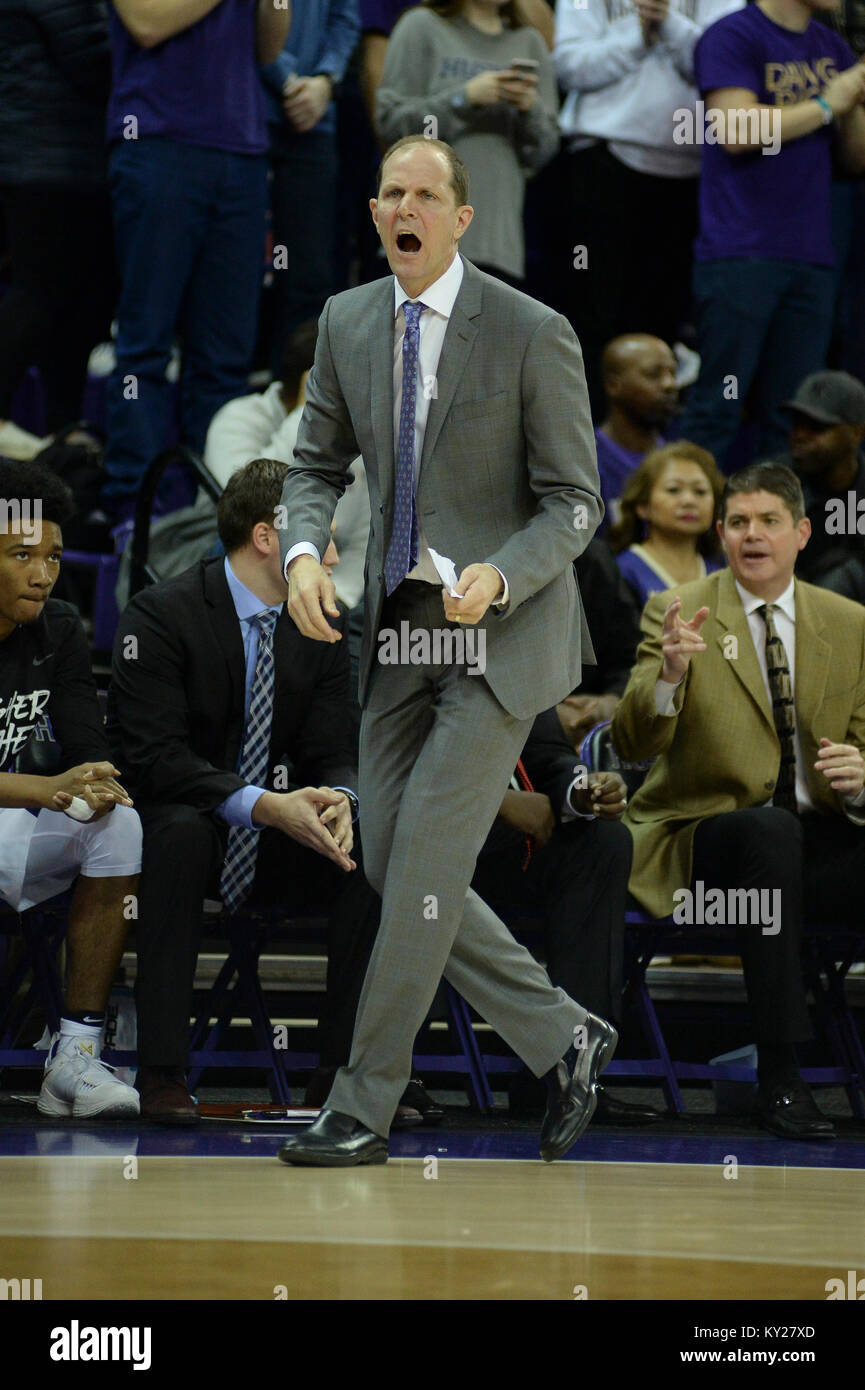 Seattle, WA, USA. 11th Jan, 2018. UW Head Coach Mike Hopkins show his intensity during a PAC12 basketball game between - Stock Image