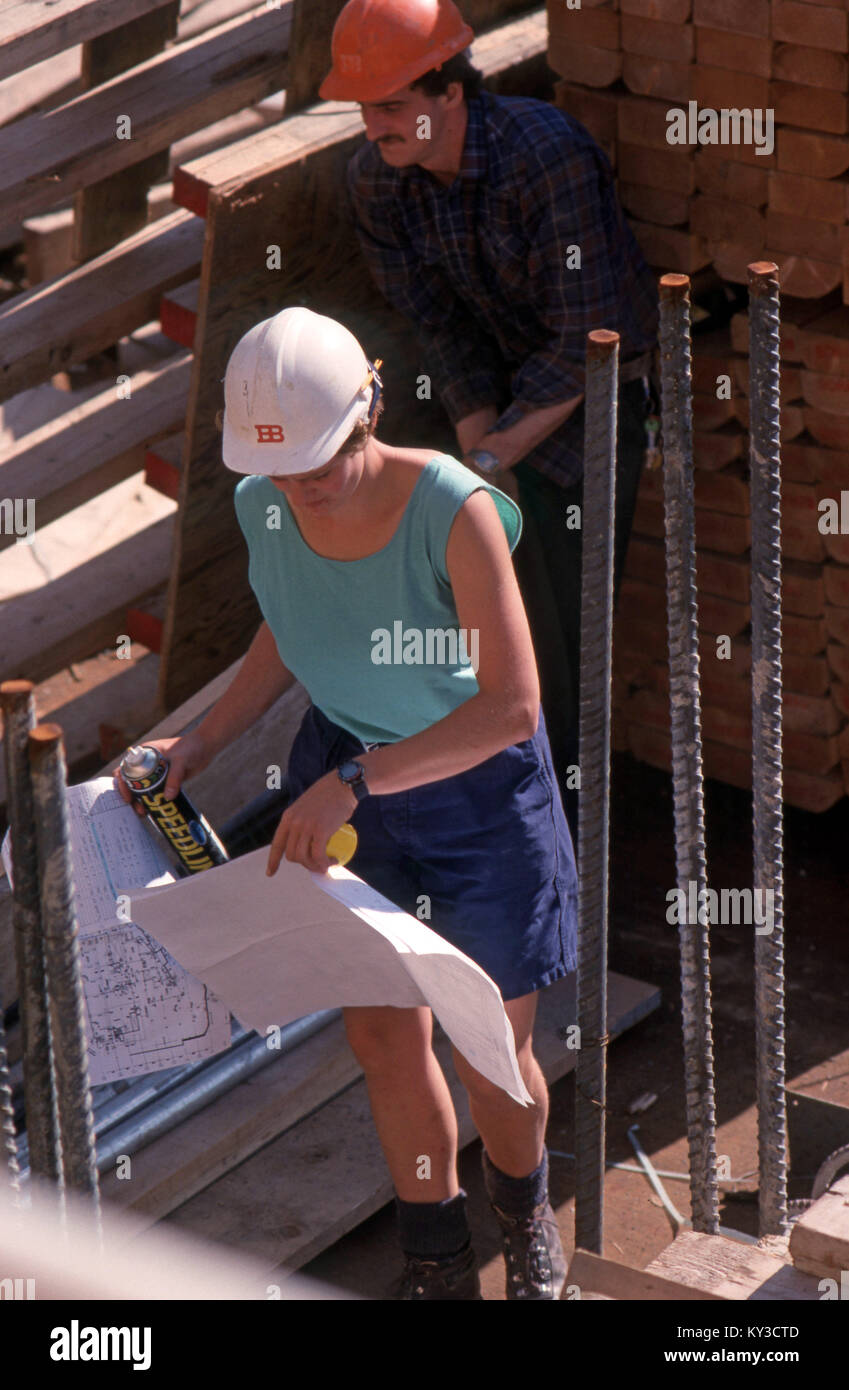 woman construction site manager - Stock Image