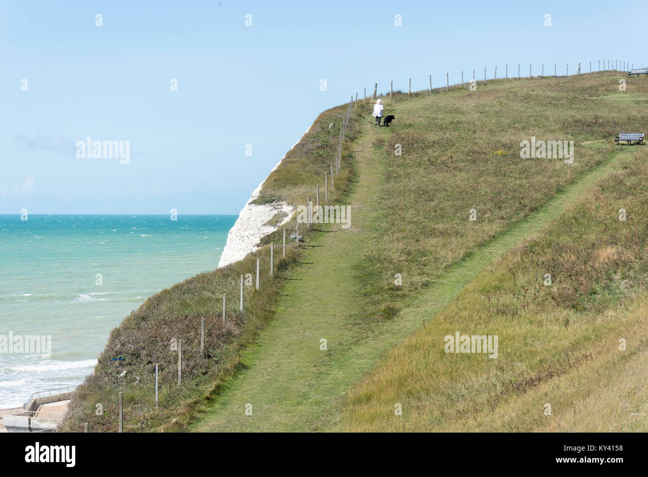 Cliff-top path at Saltdean, East Sussex, England, United Kingdom Stock Photo