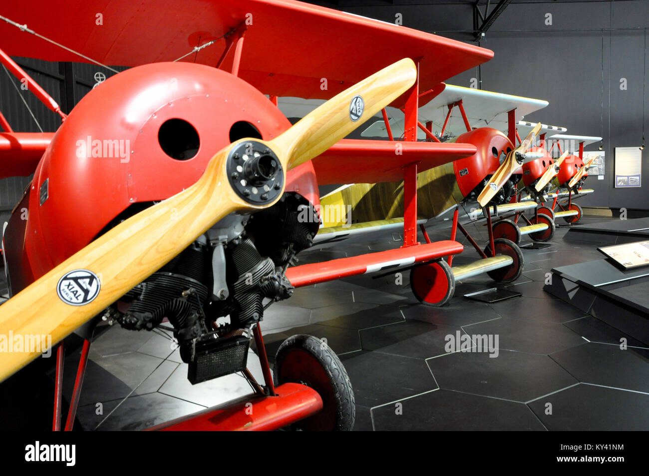 row-of-fokker-dreidecker-triplane-dr1s-in-omaka-aviation-heritage-KY41NM.jpg