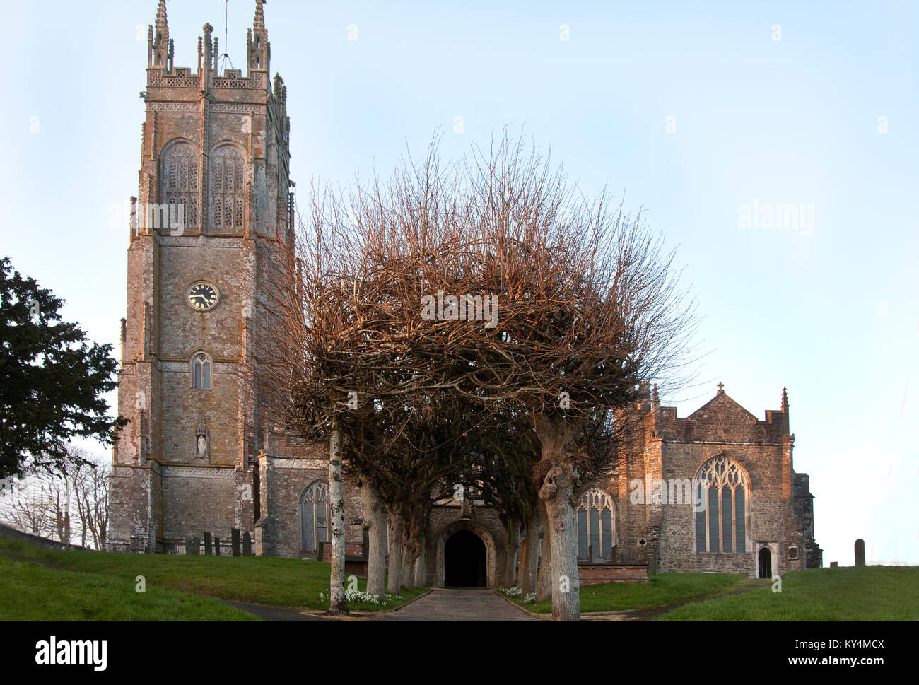 Grade I listed 15th century parish church of St Hierethas, Chittlehampton, nr Umberleigh, north Devon, England - Stock Image