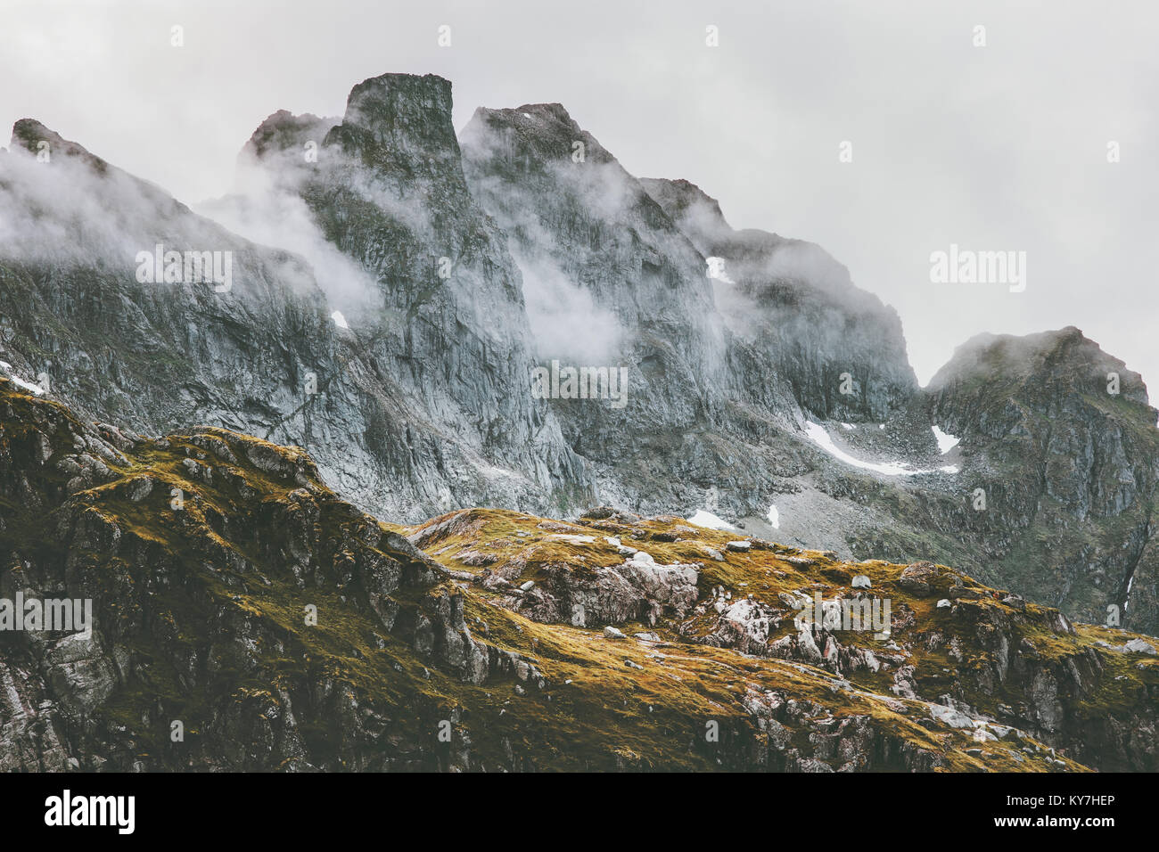 Rocky Mountains Landscape in Norway scandinavian Travel hike wild nature - Stock Image