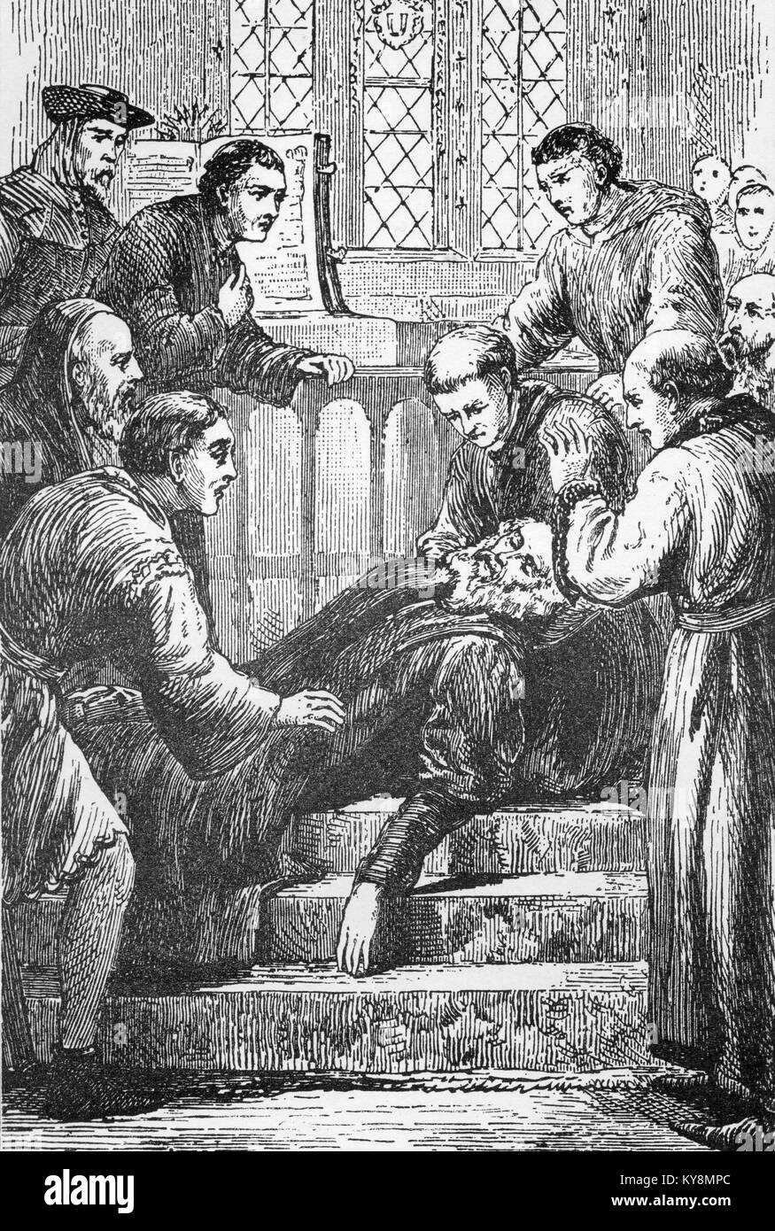 Line drawing of the death of pioneering English Bible Translator and Reformer, John Wycliffe. - Stock Image