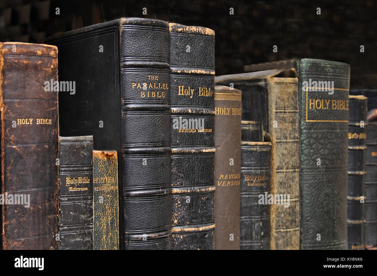 volumes of the Holy Bible. - Stock Image