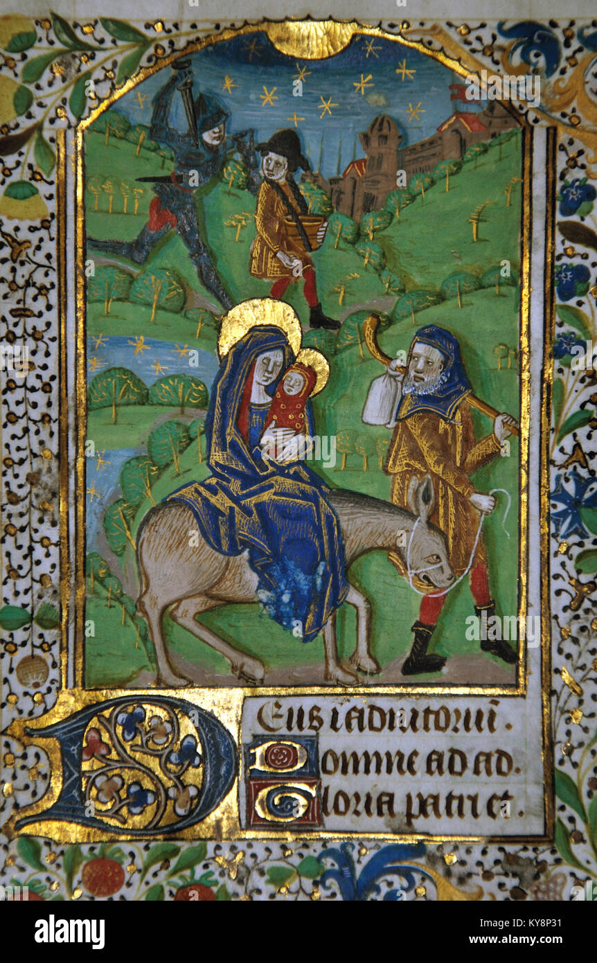 Detail of a page from a 15th Century Book of Hours, written in France on vellum, showing Joseph and Mary taking - Stock Image