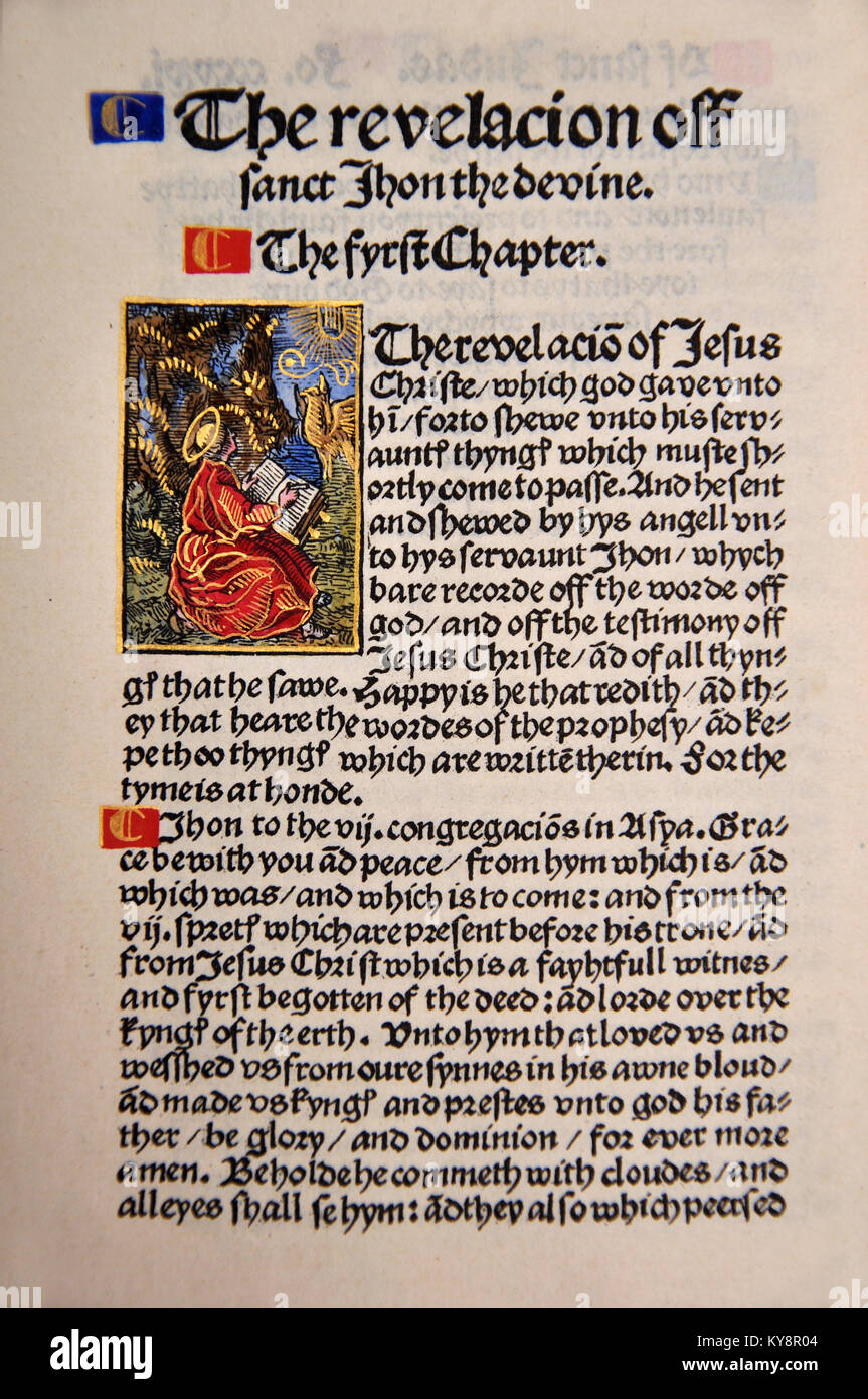 Title Page from the Book of Revelation in a Facsimile of William Tyndale's 1525 edition of the English New Testament. - Stock Image