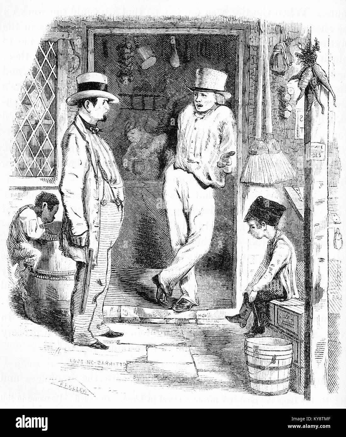 Engraving of a boy pick-pocketing a man in a London street scene during the Victorian era. From an original engraving - Stock Image