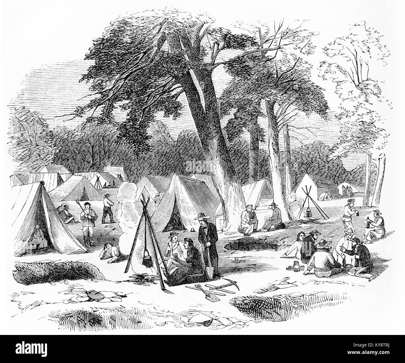 Engraving of prospectors camped at a gold-field during the goldrushes of the 1800s. From an original engraving in - Stock Image
