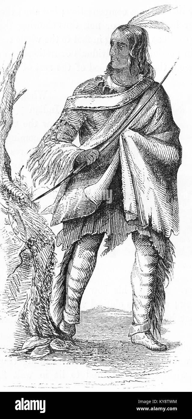 Engraving of an Indian from North America, made for a child's story book during the era of American expansion. - Stock Image