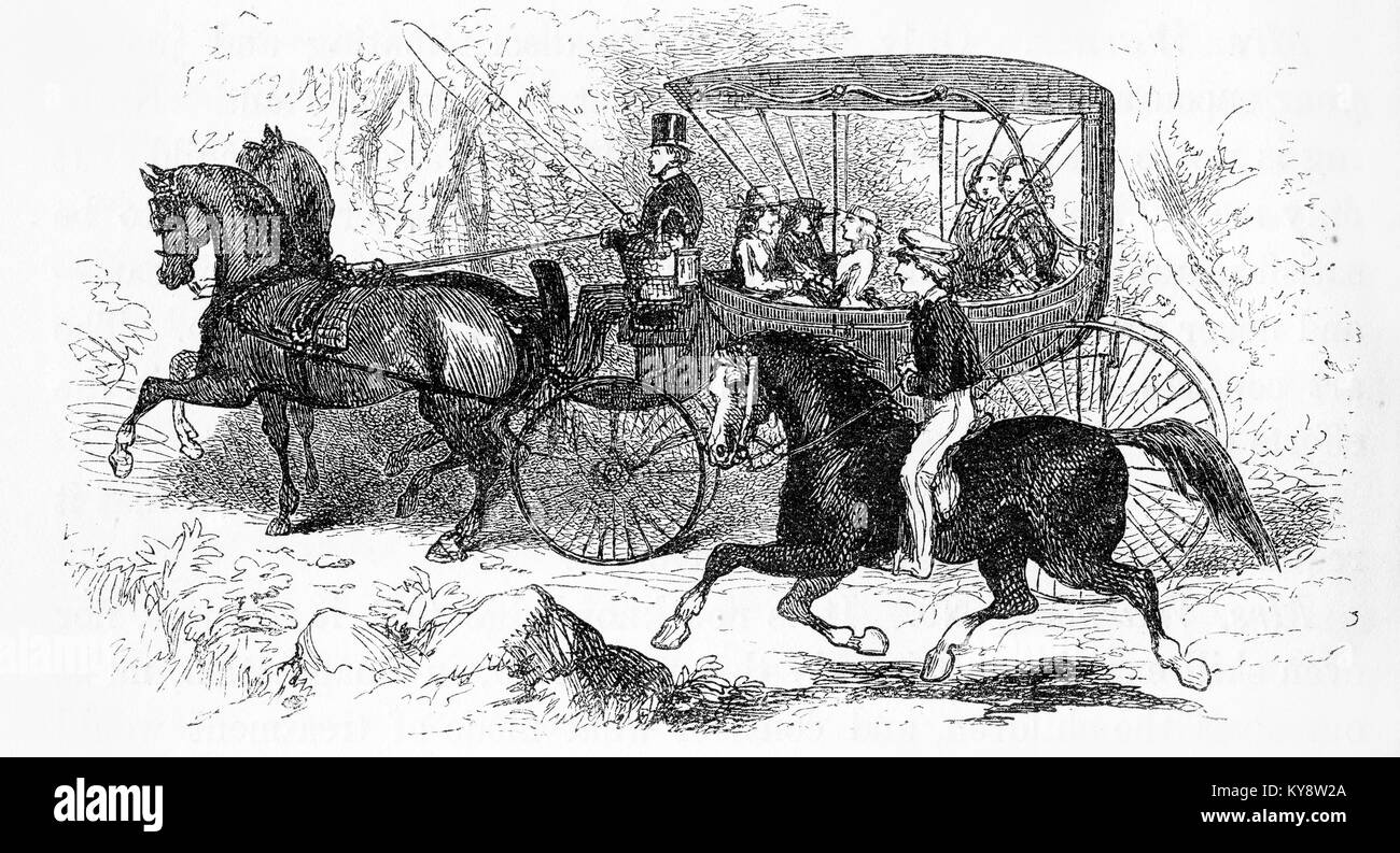 Engraving of a boy on a horse racing a barouche, or cart, during the Victorian era. From an original engraving in - Stock Image
