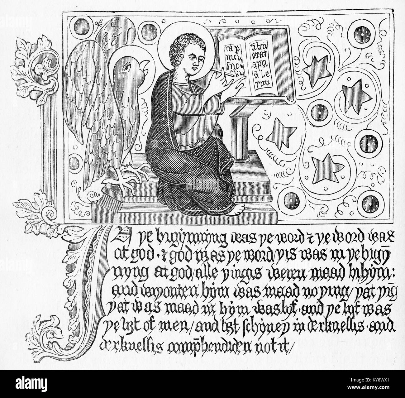 Engraving of a page of the Gospel fo John from a Wycliffe Bible. From Our english Bible by John Stoughton, circa - Stock Image