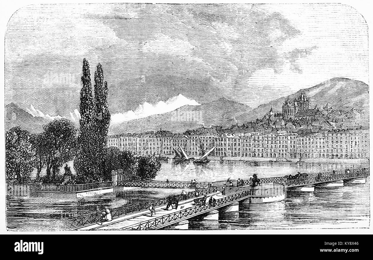 Engraving of the city of Geneva during the writing of the Geneva Bible. From Our English Bible by Stoughton, circa - Stock Image