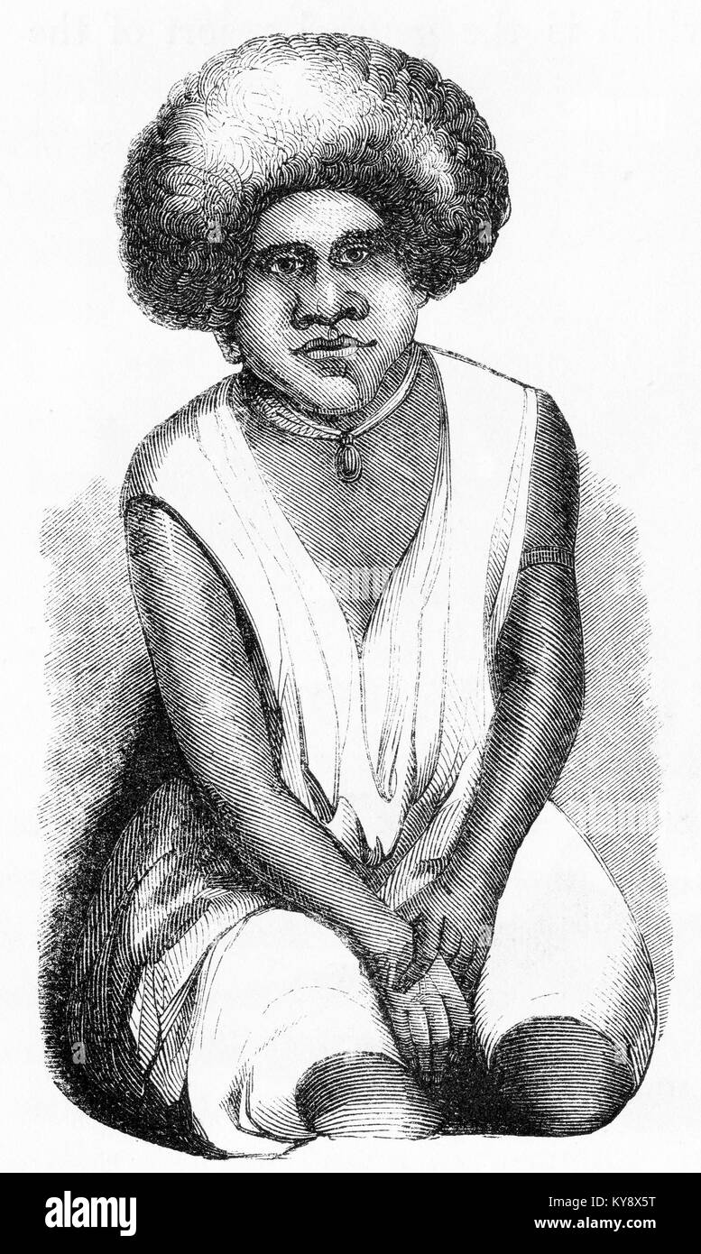 Engraving of a woman from the island of Fiji, captioned as 'A Feejee Woman' in the original book. From an - Stock Image