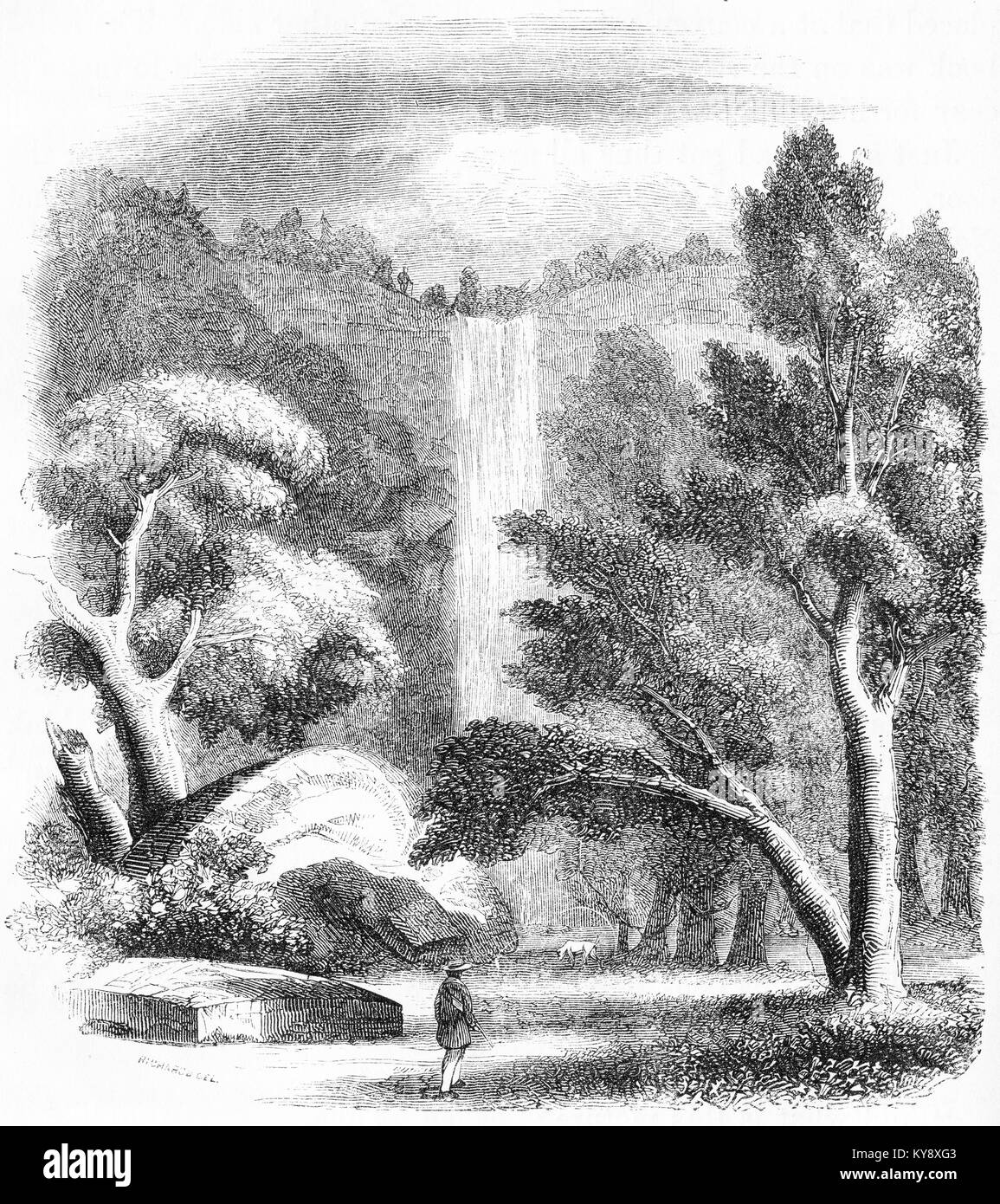 Engraving of a high waterfall. From an original engraving in the Harper's Story Books by Jacob Abbott, 1854. - Stock Image